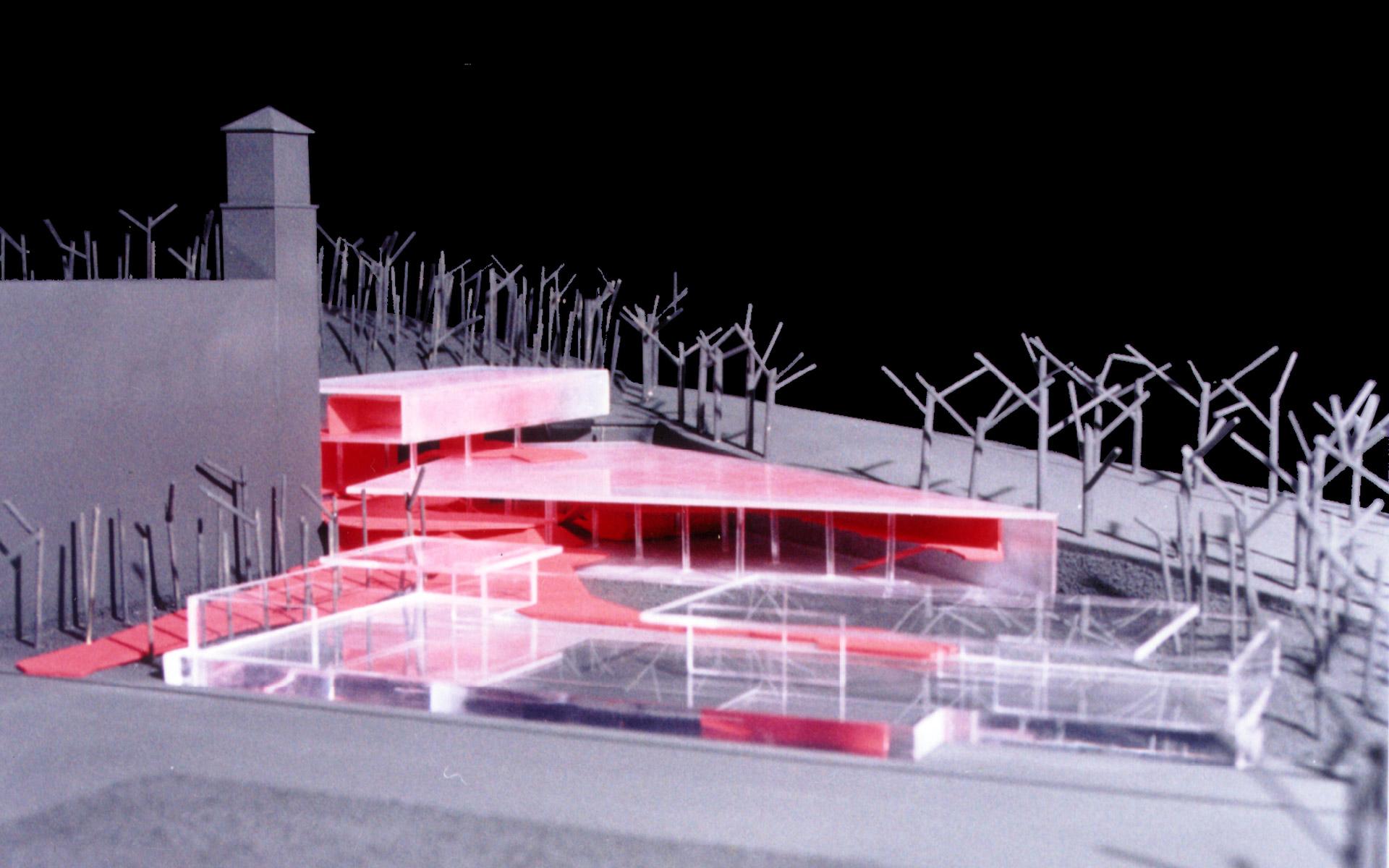 Arquitectura, maqueta, concurso Fundación Mies van der Rohe, pabellón de barcelona en acrílico transparente y propuesta en acrílico traslucido y piezas en rojo