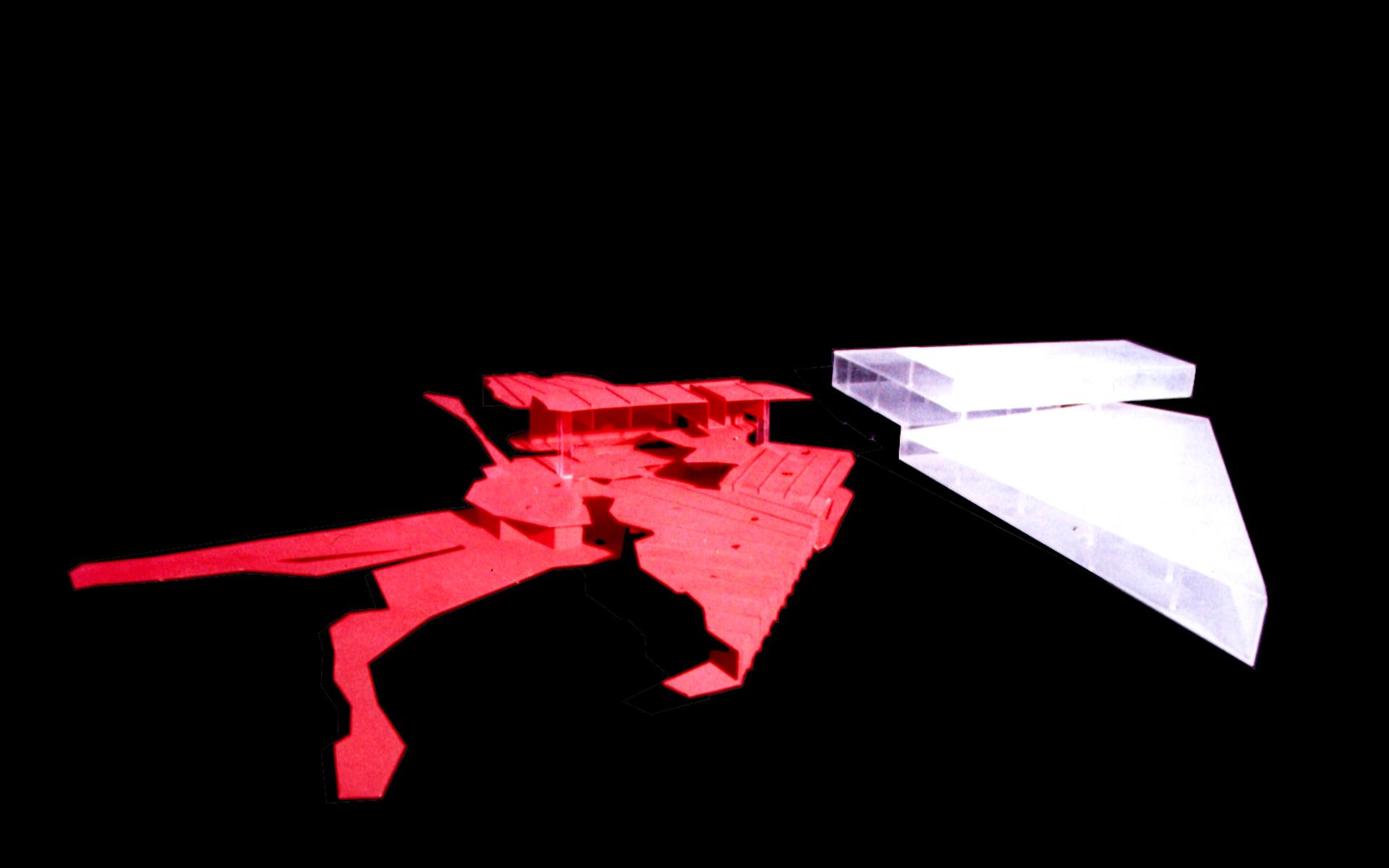 Arquitectura, maqueta, concurso Fundación Mies van der Rohe, detalle propuesta de las dos piezas, en acrílico traslucido y rojo