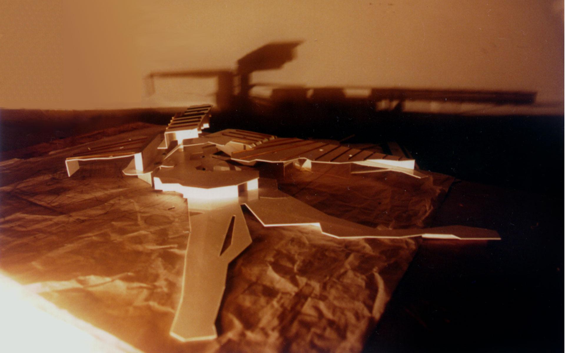 Arquitectura, maqueta, concurso Fundación Mies van der Rohe, detalle maqueta en blanco y sombras
