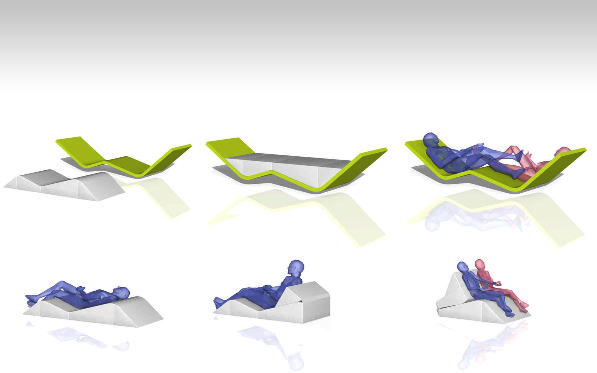 diseño industrial, diseño de mobiliario chaise longue y sofá concept