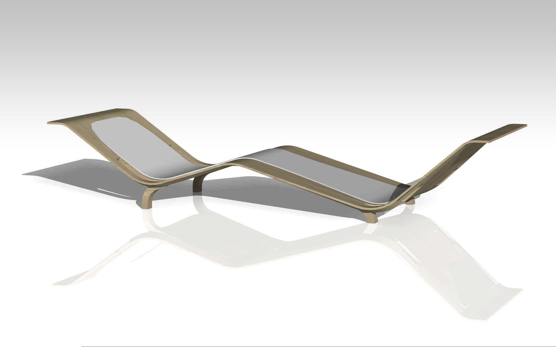 Diseño industrial, diseño chaise longue en multilaminado de madera