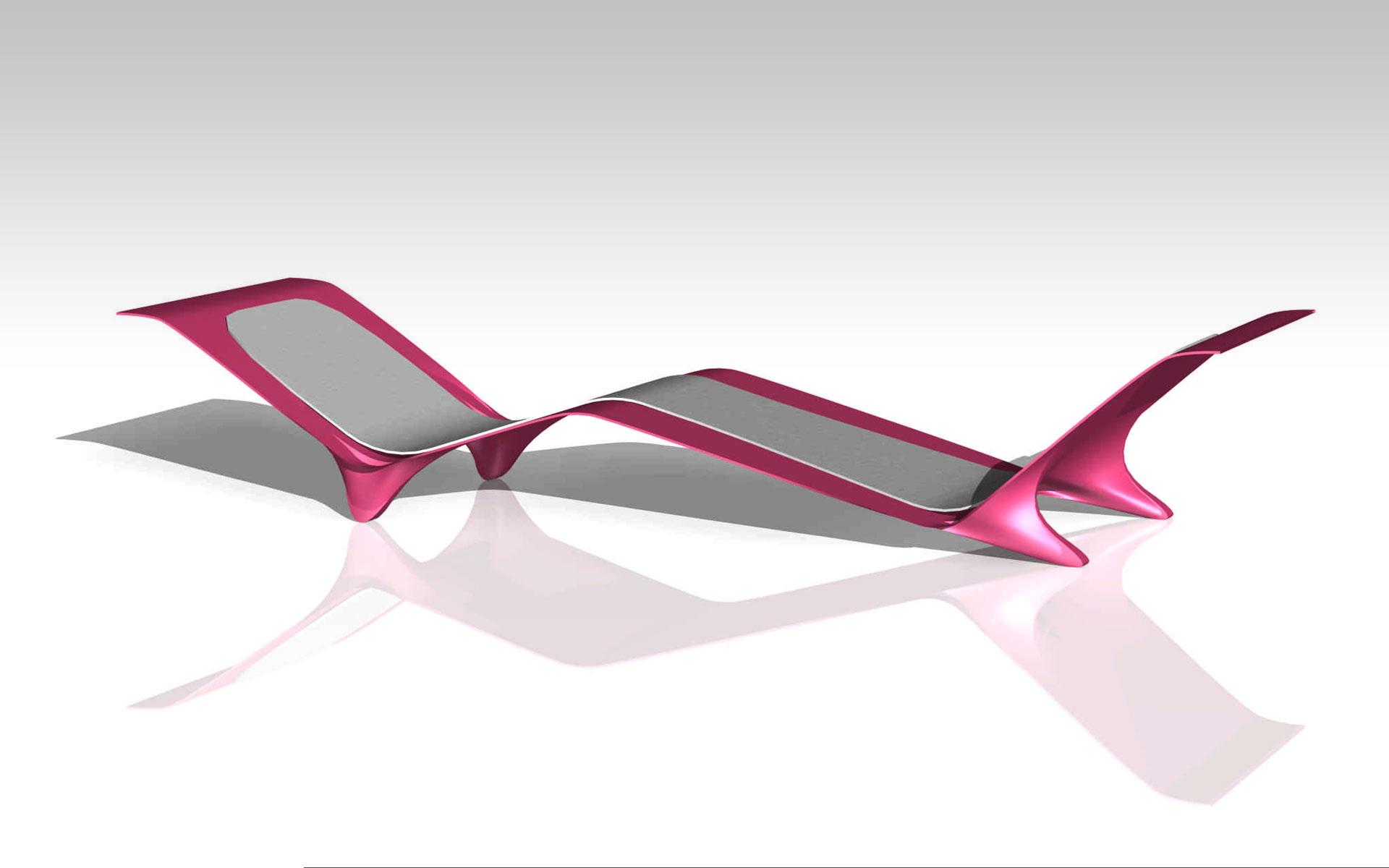 Diseño industrial, diseño mobiliario chaise longue hiper futurista en plástico inyectado