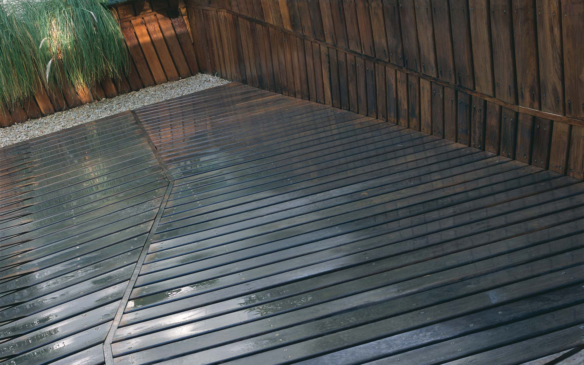landscaping, wood deck