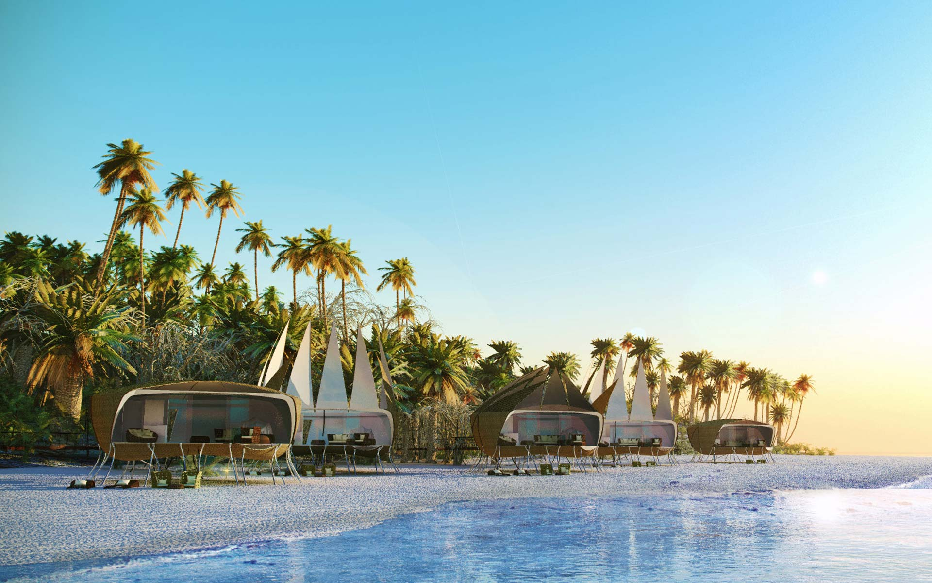 arquitectura desmontable, hospitality glamping, cabañas desde la playa