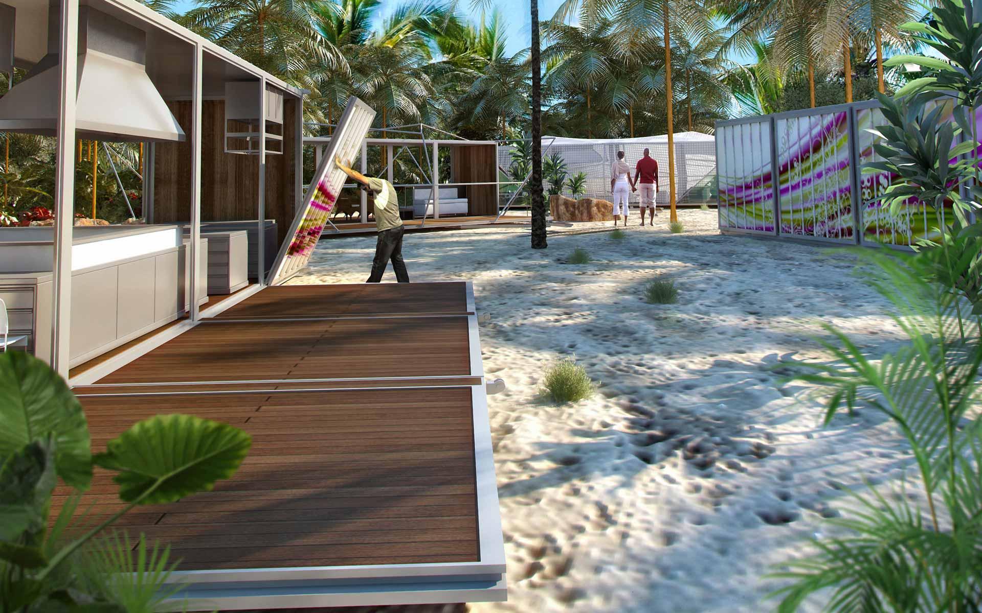 Arquitectura desmontable, montaje del campamento de containers