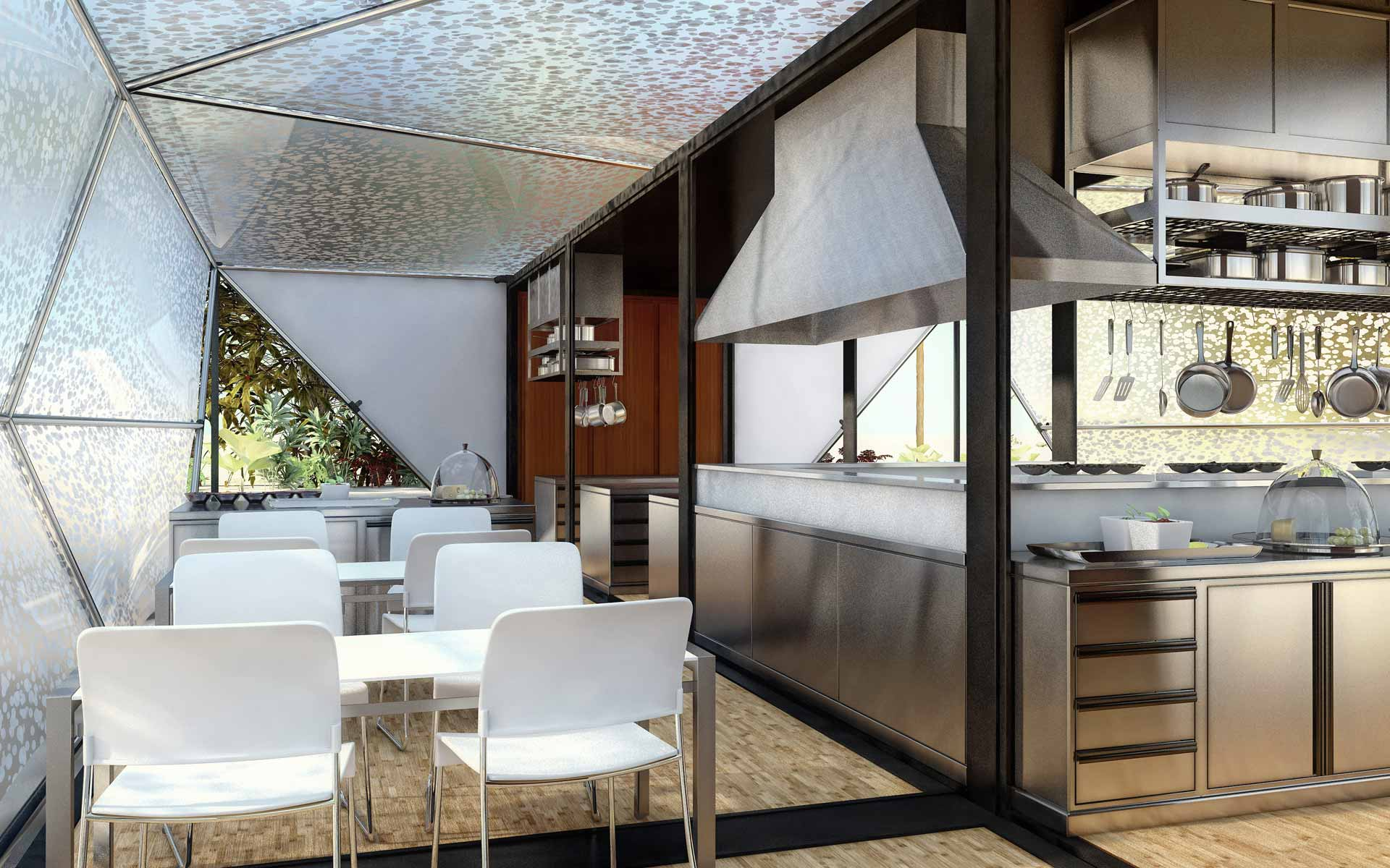 Removable architecture, interior container kitchen and staff dining room