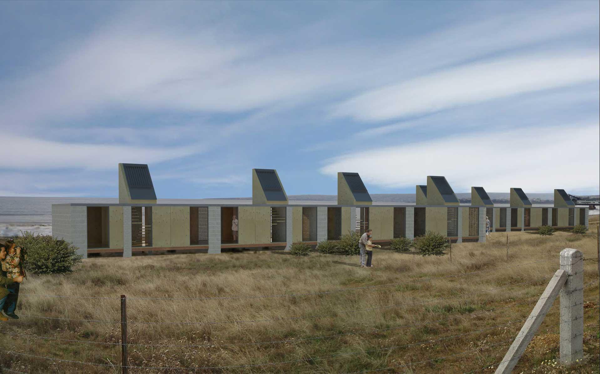 Arquitectura, concurso, viviendas apareadas antes de la inundación del tsunami