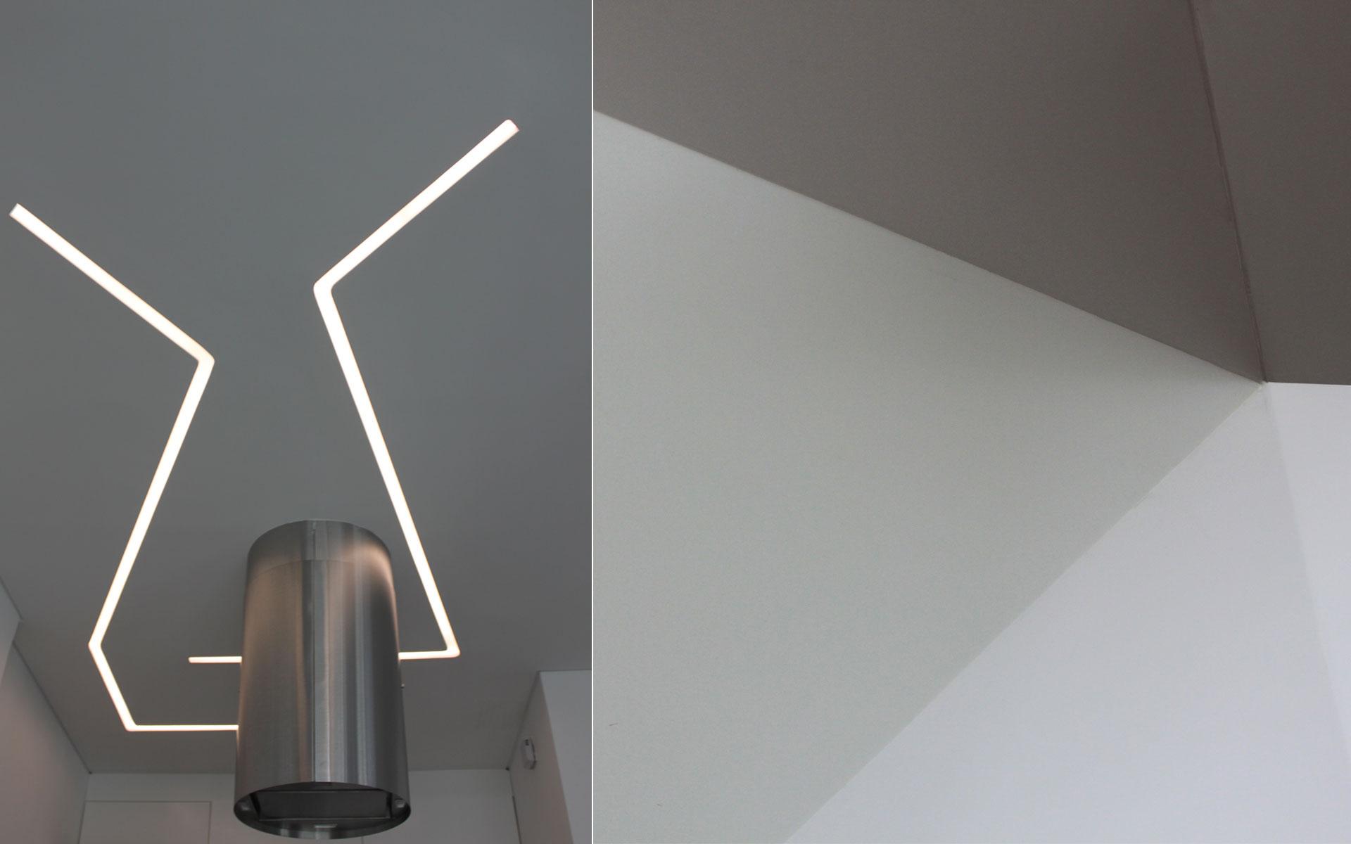 Diseño interior y reforma de ph, Detalles exclusivos en corian blanco plegado y luminarias diseñadas especificamente por el estudio de arquitectura NOA
