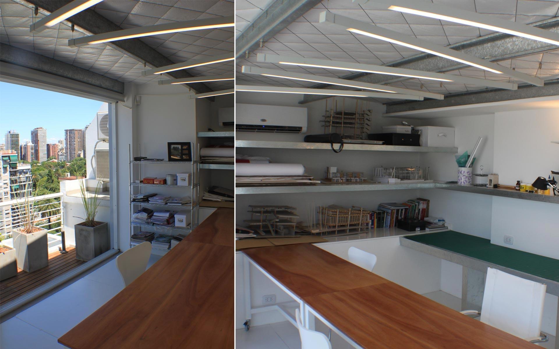 Reforma departamento, estudio moderno con techo de chapa agregado en la terraza, mesas de trabajo en madera y metal blanco y una mesada de superficie de corte