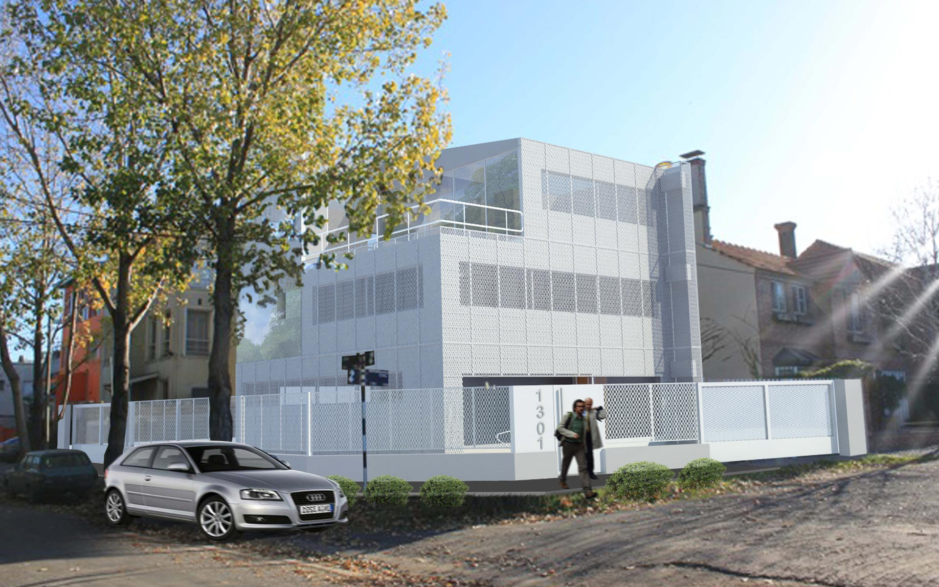 Arquitectura, reforma casa, exterior oficinas SPI en San Isidro, fachada de chapa mircroperforada blanca