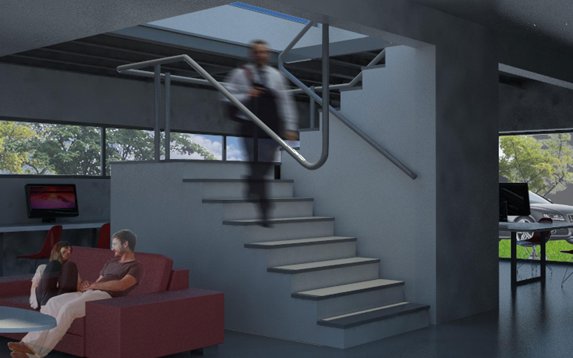 Arquitectura, reforma casa, interioroficinas SPI en San Isidro, escalera existente y baranda continua flotante