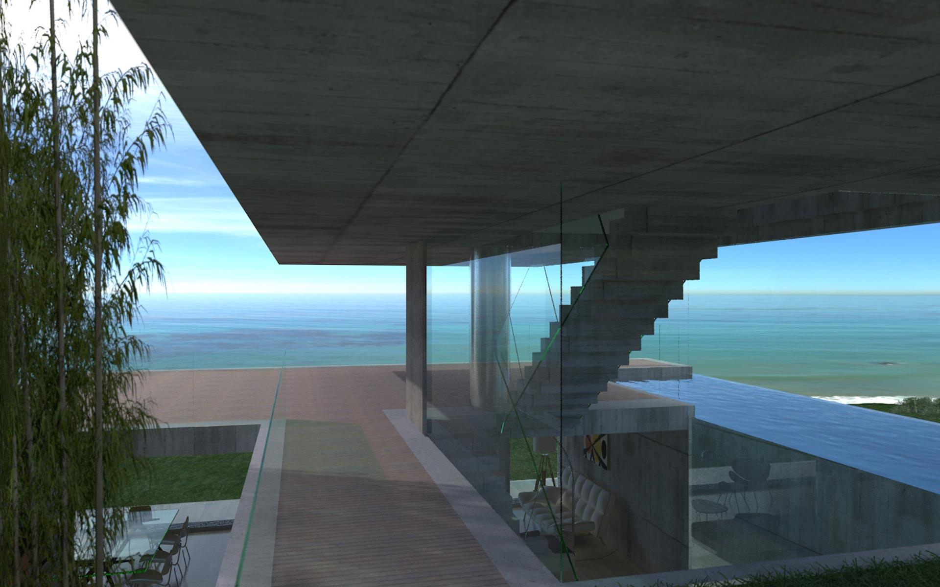 Arquitectura, casa minimalista en barrio cerrado en la playa de hormigón visto, acceso con vistas al horizonte y doble altura