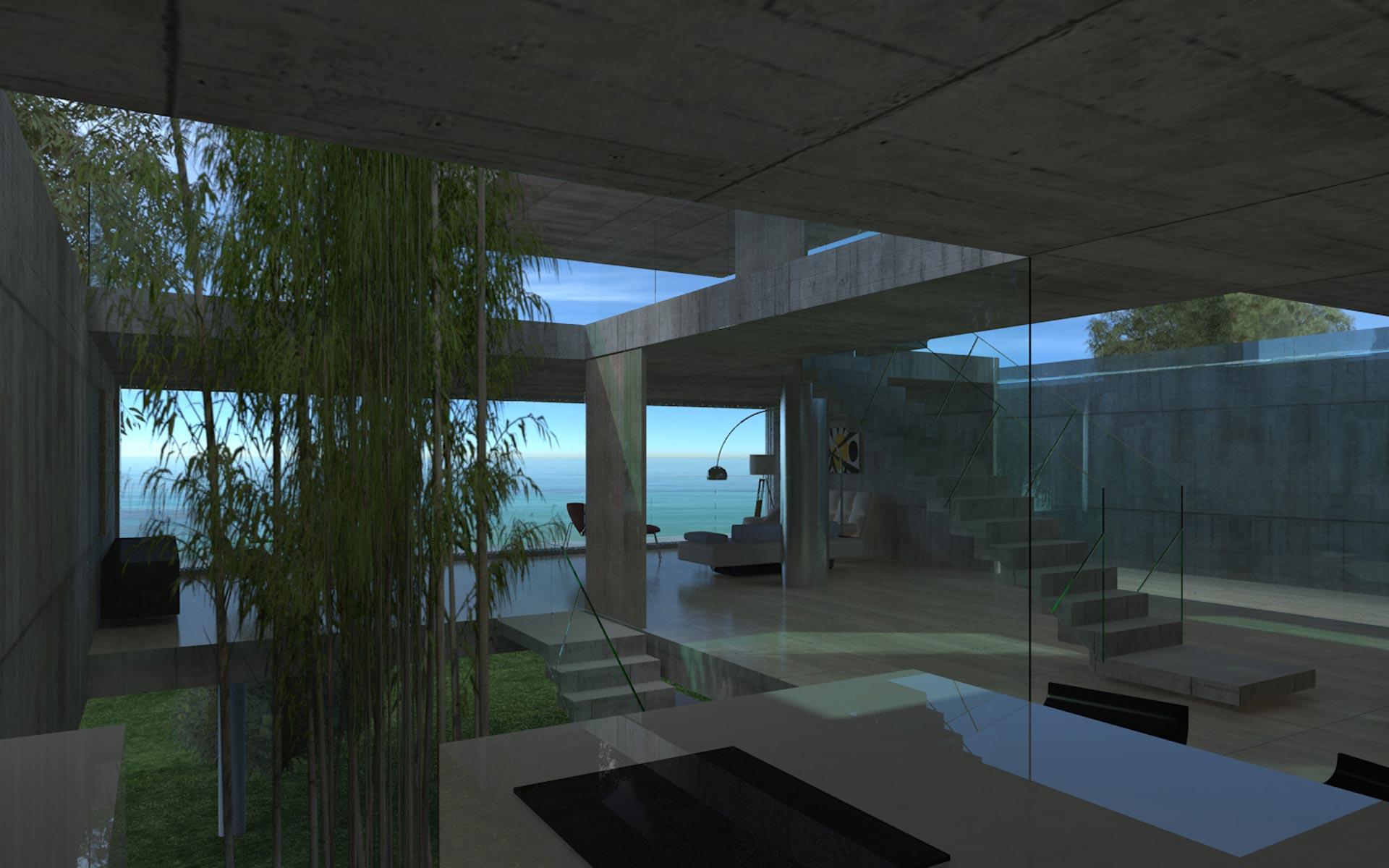 Arquitectura, casa en la playa de hormigón visto, patio desde la cocina, vidrio, hormigón y madera, escalera plegado de hormigón y baranda de vidio