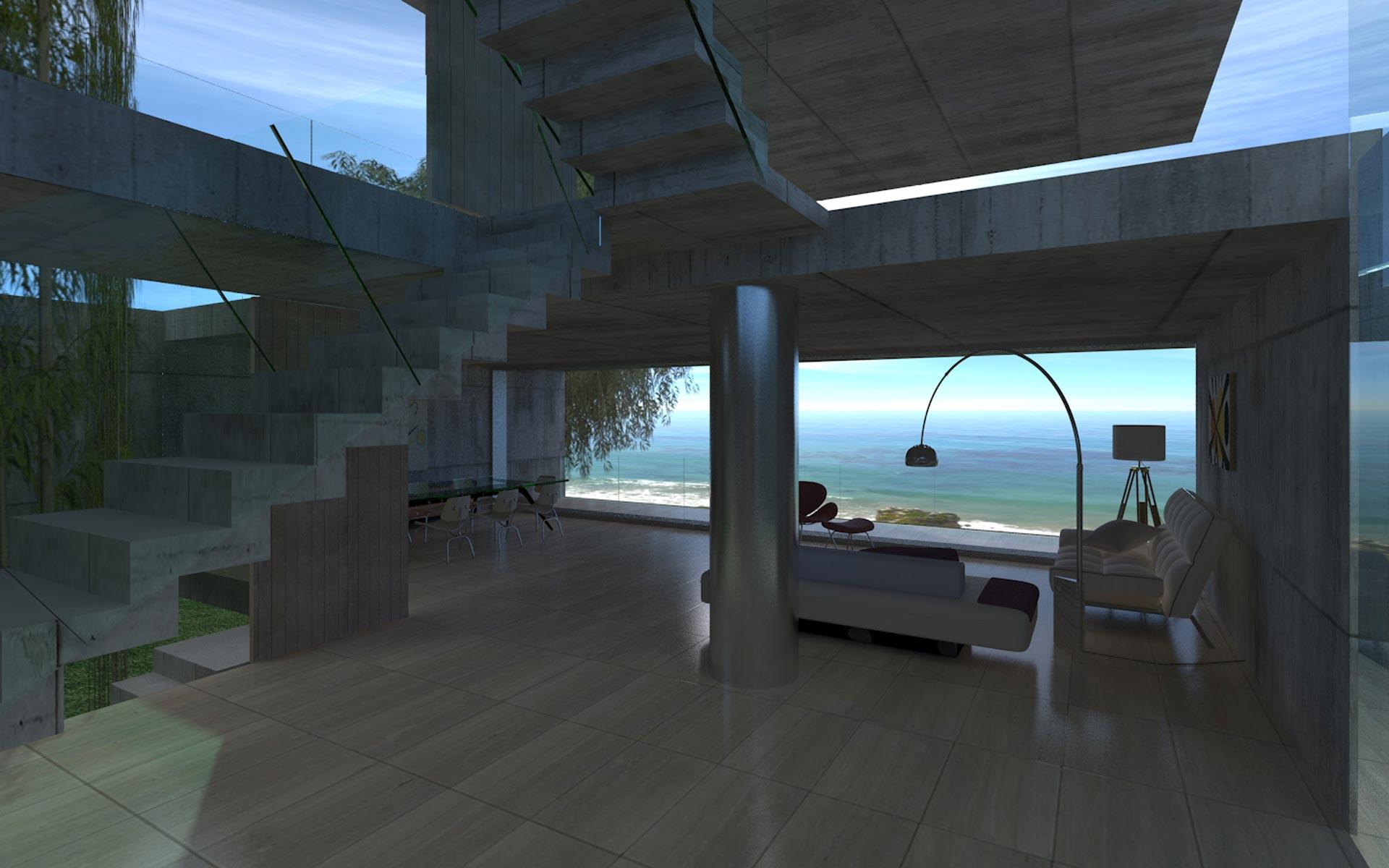 Arquitectura, casa en la playa de hormigón visto, doble altura, columna de acero inoxidable y escalera plegado de hormigón con baranda de vidrio