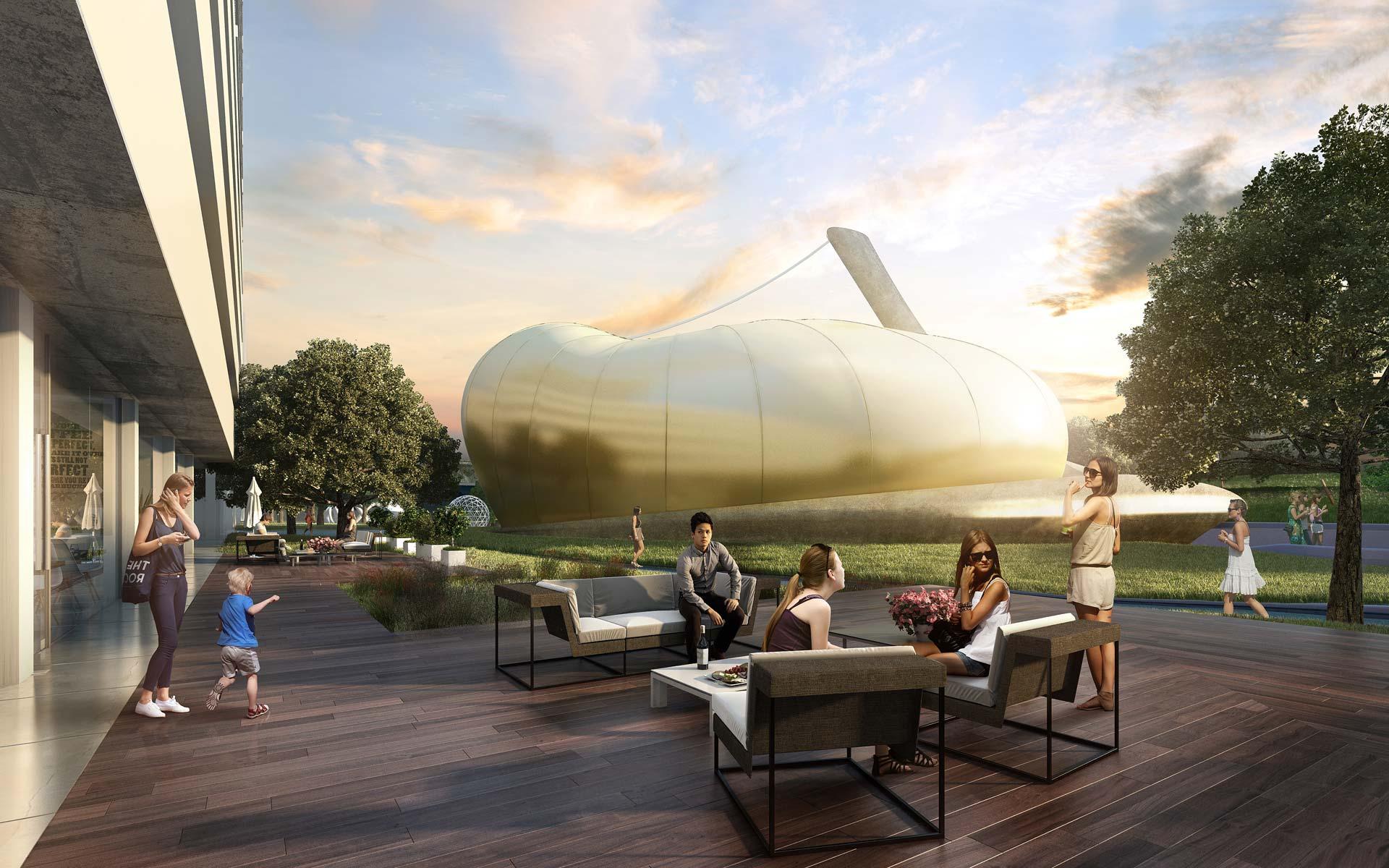 Arquitectura y Paisaje, Concurso Parque de las Ciencias, vista del Pabellón desmontable e inflable dorado desde el bar