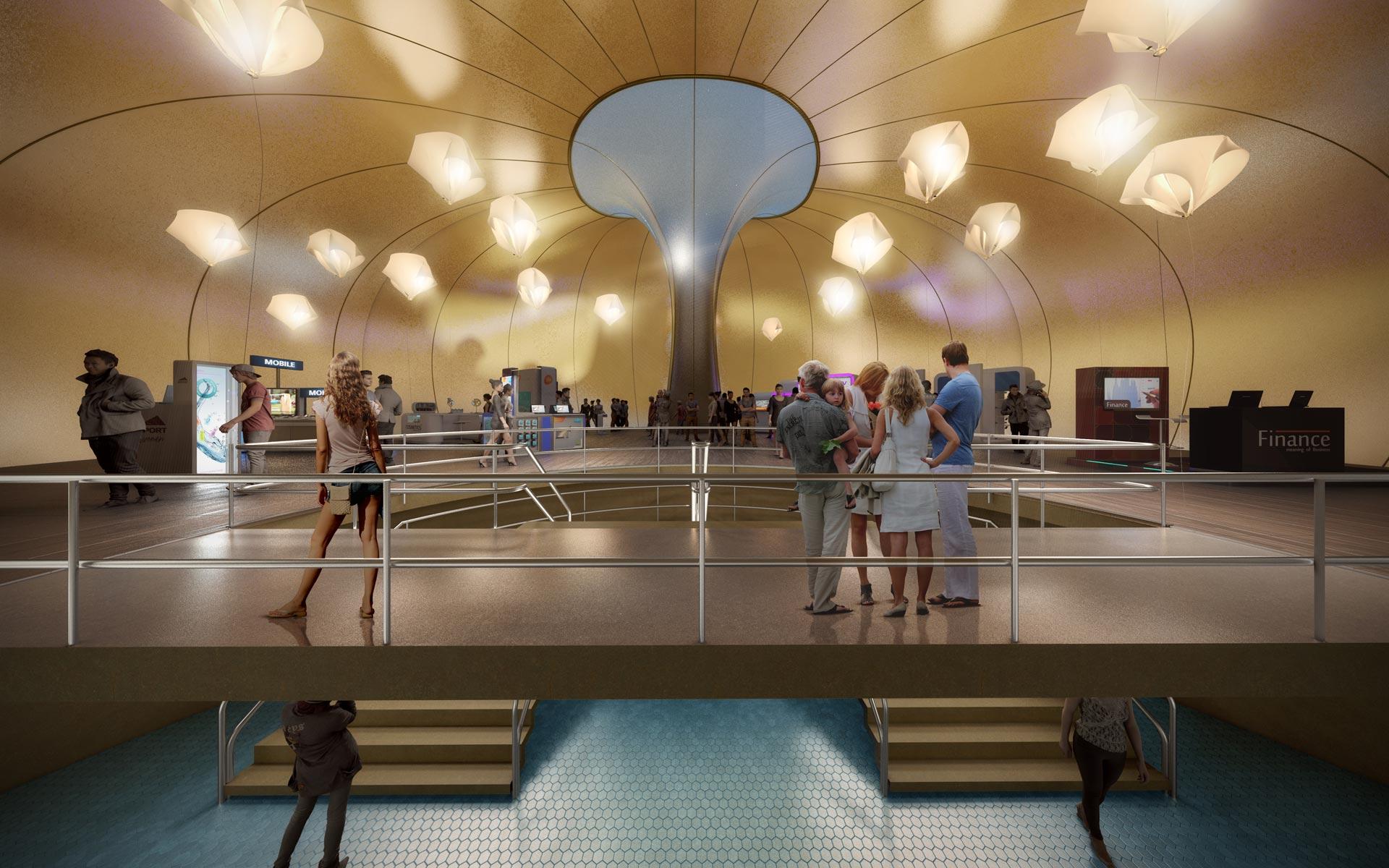 Concurso Parque de las Ciencias, interior pabellón infalible dorado arquitectura efímera