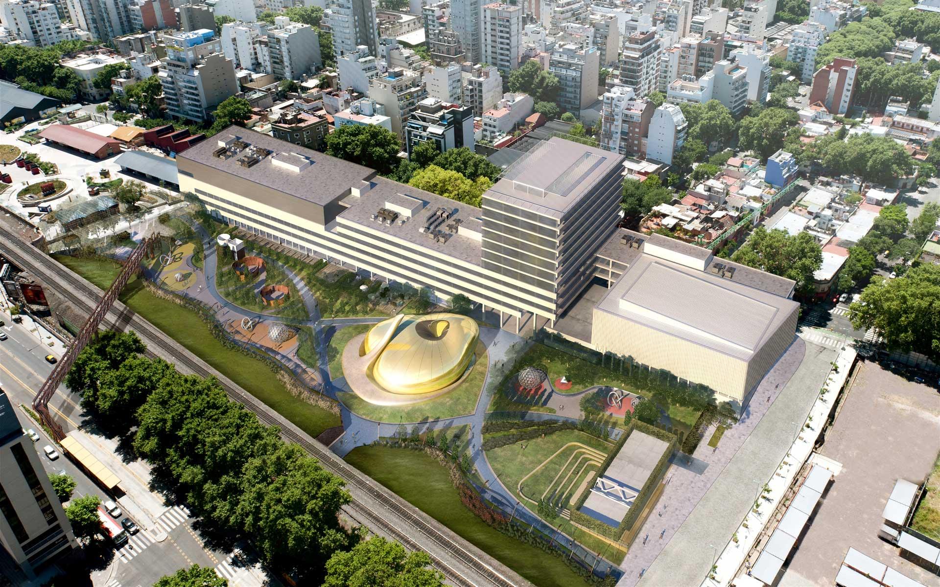 Arquitectura y Paisaje, Concurso Parque de las Ciencias, vista aerea de la propuesta en el Barrio de Palermo Viejo