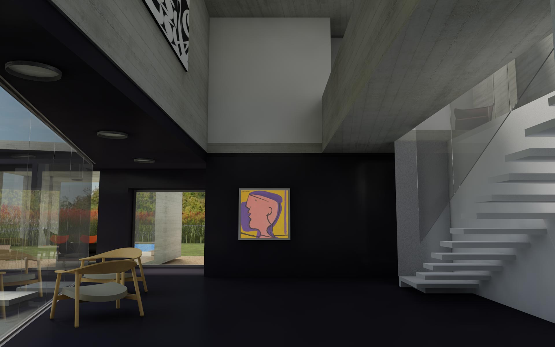 Arquitectura, doble altura interior en negro con escalera flotante blanca y baranda de vidrio
