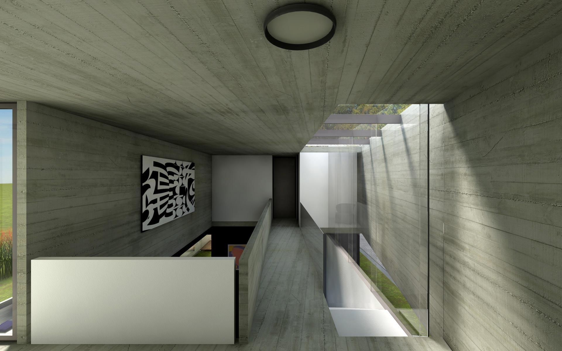 Arquitectura, casa minimalista en barrio cerrado, de hormigón visto, puente y doble altura con techo de vidrio