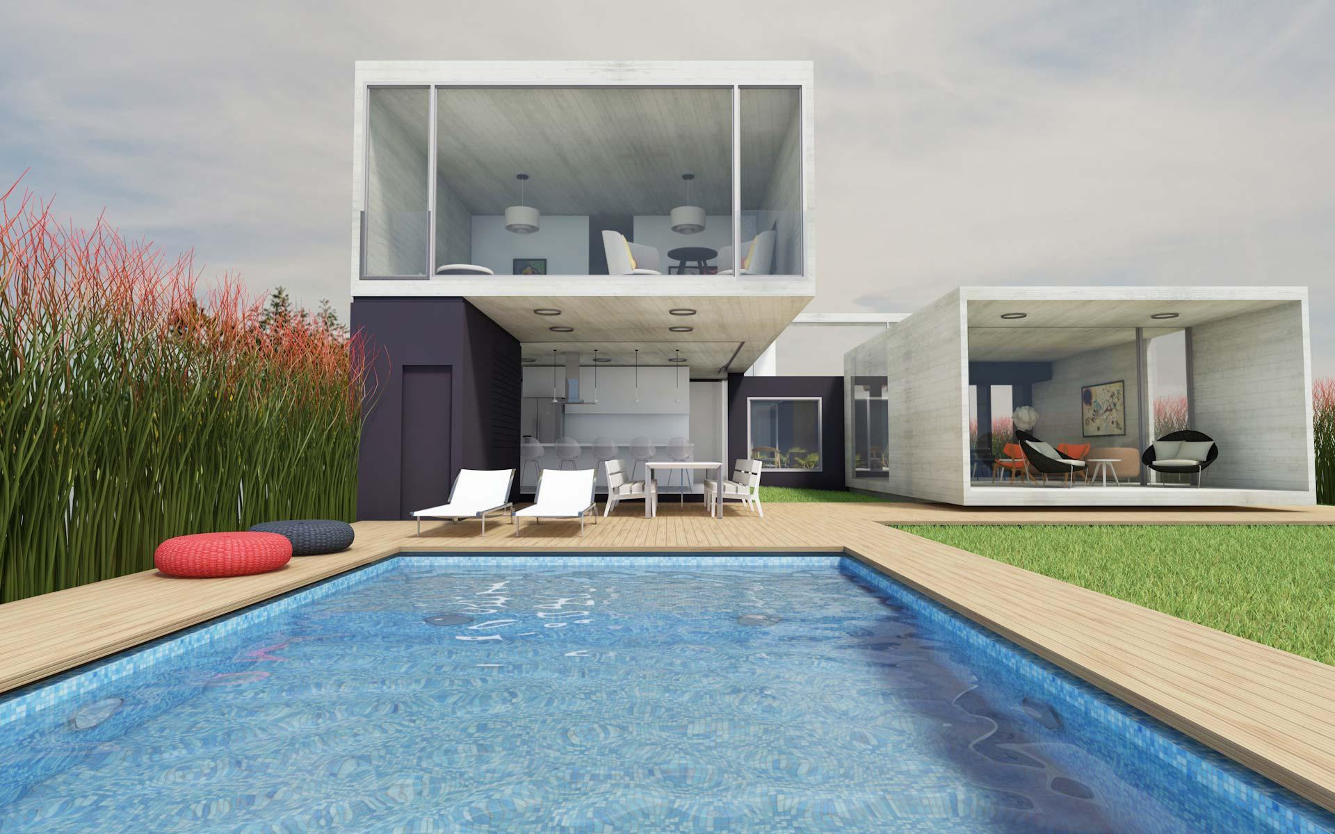 Arquitectura, casa de hormigón visto moderna en barrio privado desde la pileta de natación y deck