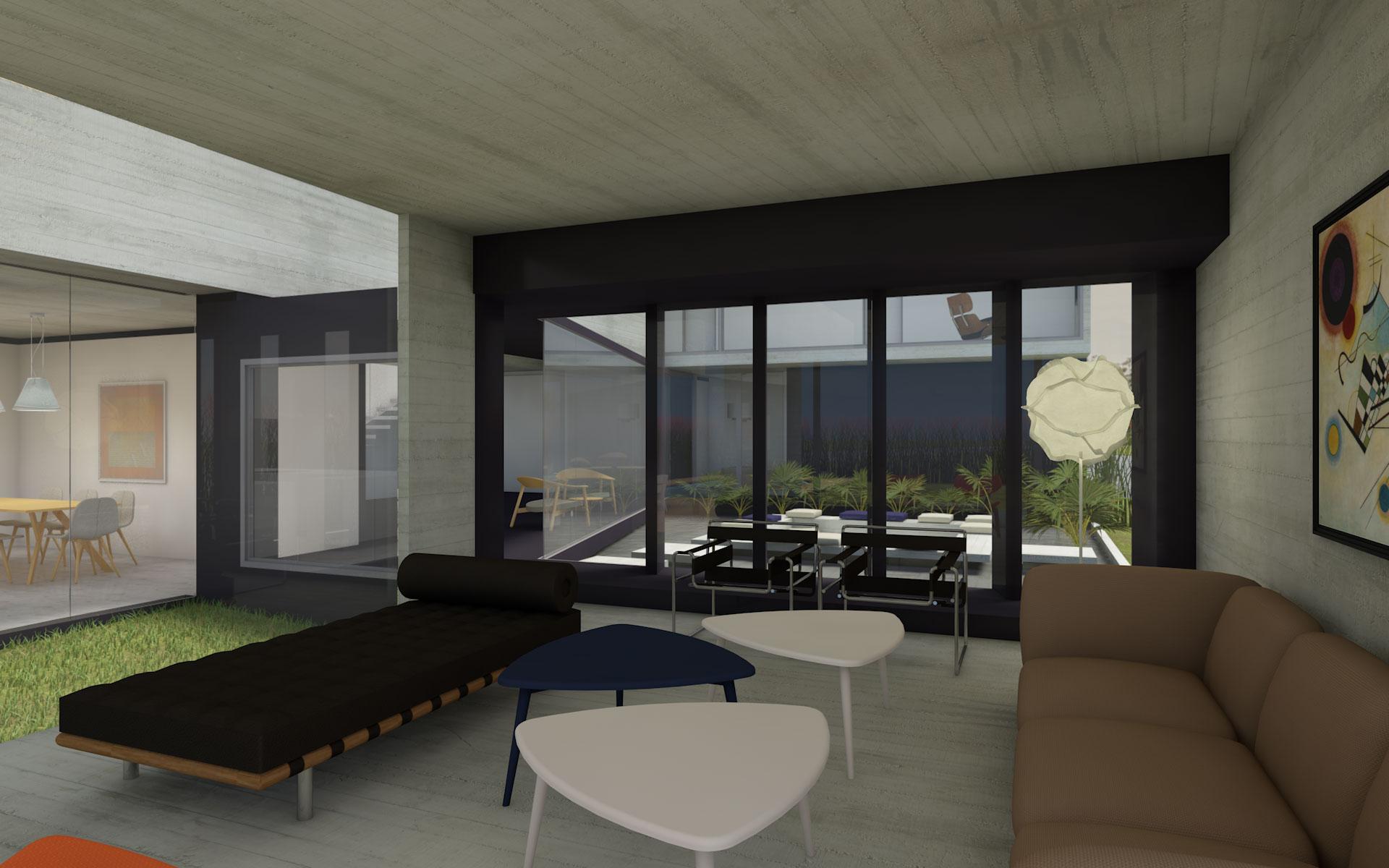 Arquitectura, living con muebles clásicos, casa de hormigón visto moderna y carpinterías metálicas negras