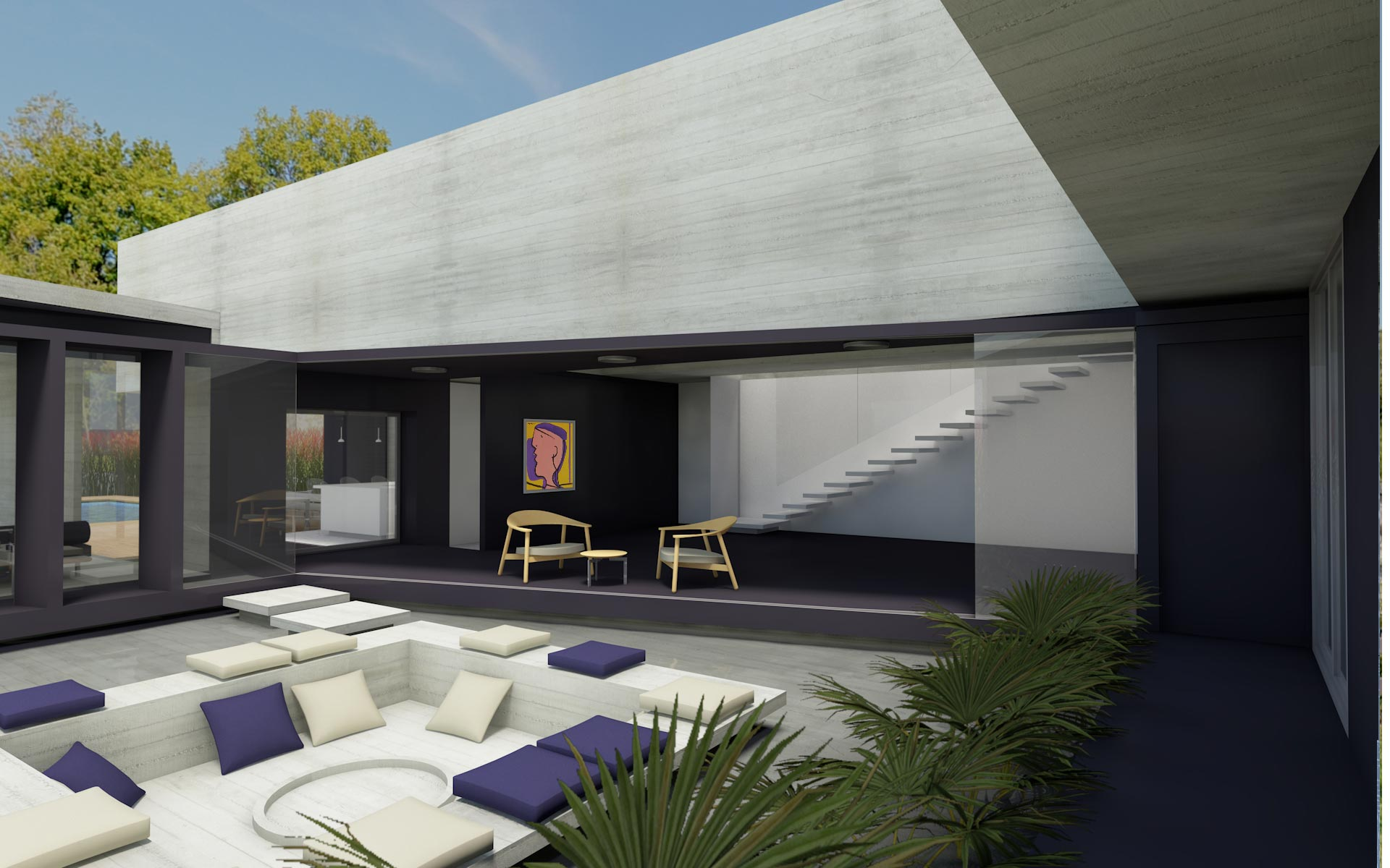 Arquitectura, casa minimalista en barrio cerrado, de hormigón visto y negro, acceso servicio patio interior, con fogón rodeado de agua