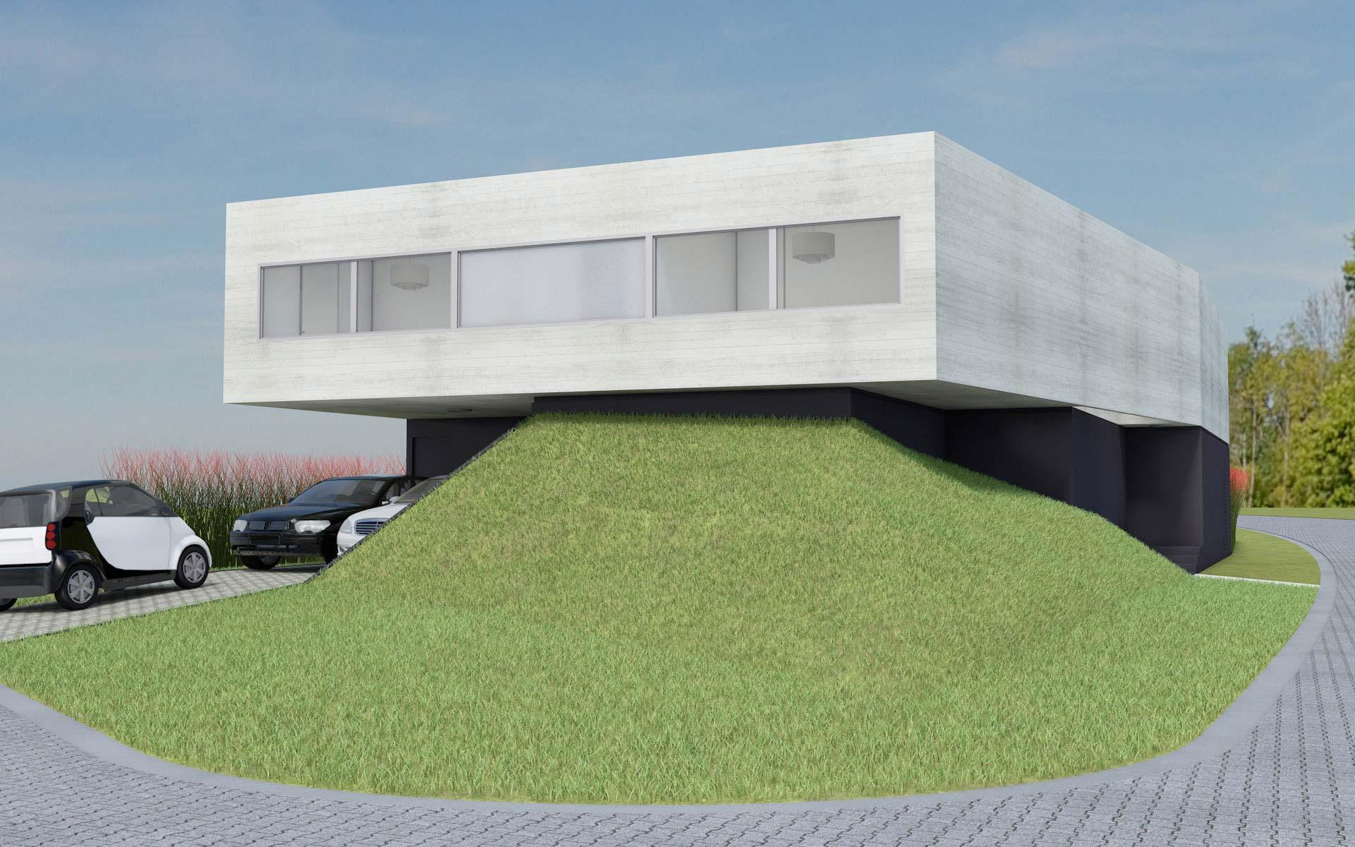 Arquitectura, vista casa en esquina, minimalista en barrio cerrado, de hormigón visto y basamento pasto y muros negros