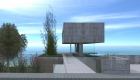 Architecture: Modern house in a closed neighborhood, access floating volume of exposed concrete with sea view