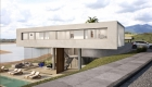 Architecture:  Exterior modern exposed concrete house lake view