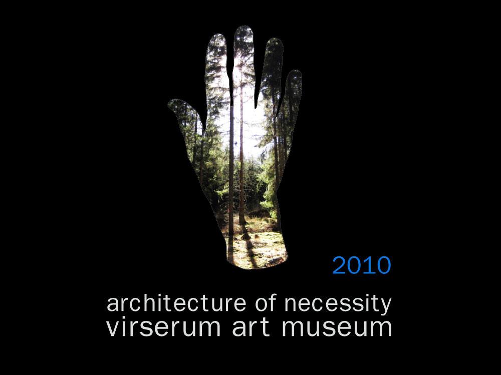 Logo de la exhibición Architecture of Necessity en el Virserum Art Museum en Suecia en 2010 que el estudio de arquitectura NOA formo parte fondo negro