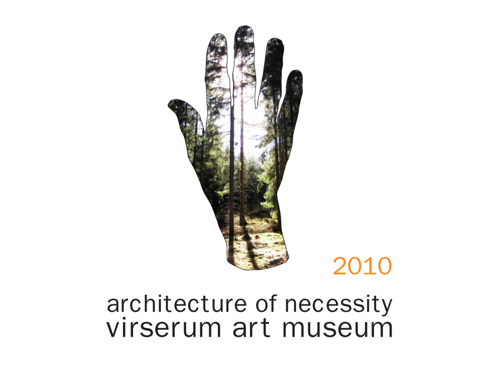 Logo de la exhibición Architecture of Necessity en el Virserum Art Museum en Suecia en 2010 de la que el estudio de arquitectura NOA formo parte fondo blanco