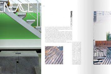 Tapa revista Enlace #212 y proyecto Oficinas TSHQ del estudio de arquitectura NOA