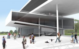 Concurso Arquitectura y Paisajismo plaza de acceso y auditorio flotante en Ministerio de Ciencia y Tecnología en Palermo