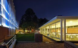 Landscape and architecture barbecue pavilion and covered pool at night