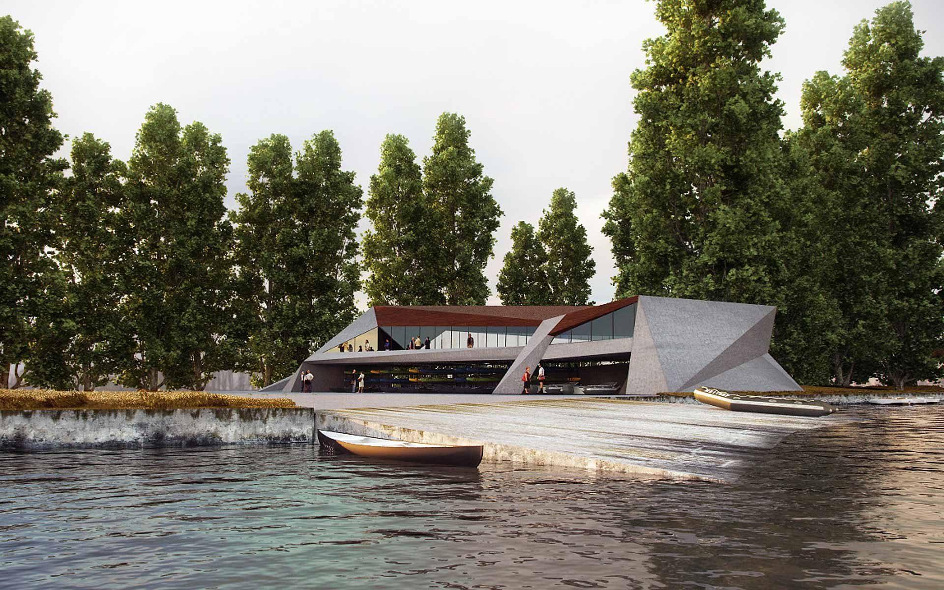 Premio concurso arquitectura, escorzo club náutico desde el río edificio un edificio de prismas de hormigón visto y techo de madera