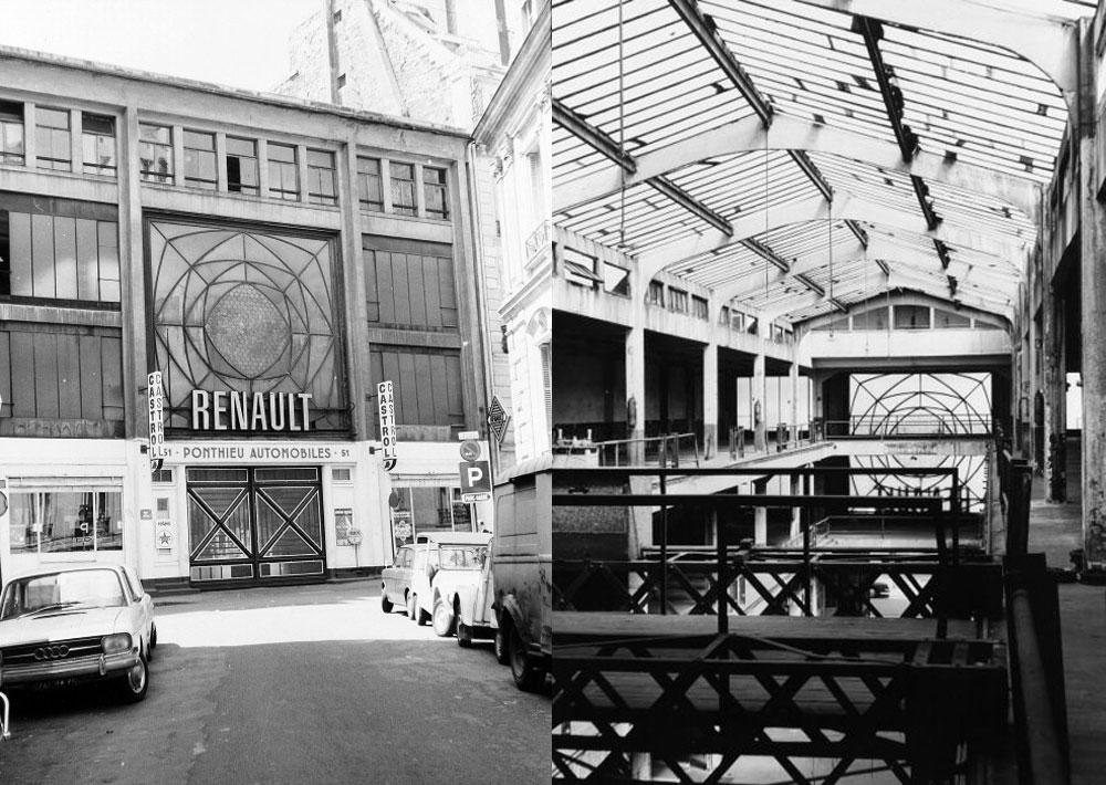 Garage Ponthieu fachada (cuando ya era de Renault) y doble altura interior del Arquitecto Perret
