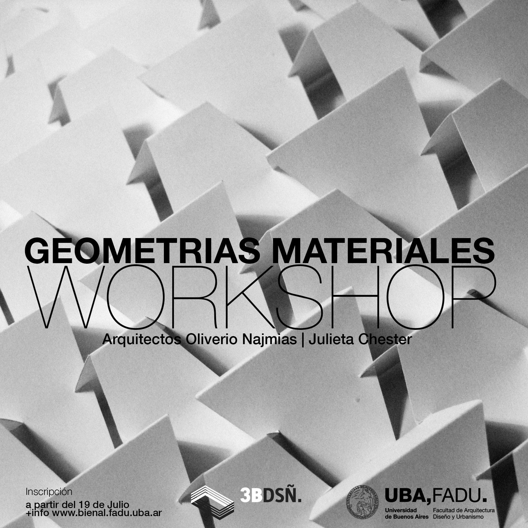 Flyer del Workshop Geometrías Materiales dictado por el arquitecto Oliverio Najmias en la FADU-UBA en la foto en blanco y negro plegados en papel