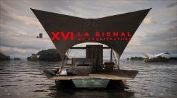 Acqua eco lodge flutuante na Bienal Internacional de Arquitetura