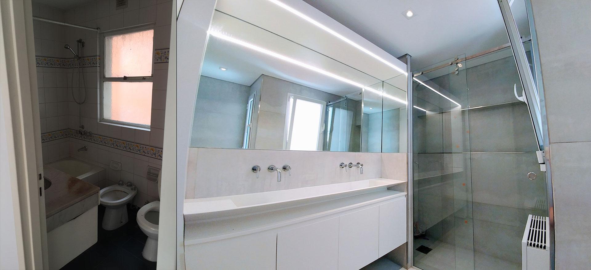 Antes y después, transformación radical del baño con un diseño moderno, ideas deco con lineas puras blanco y mampara de vidrio