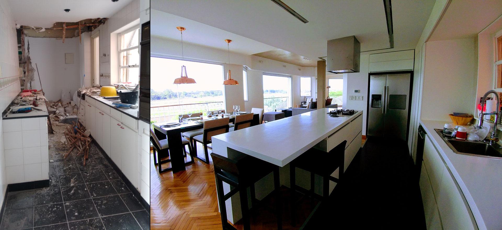 Antes y después, cocina antes de la reforma y diseño moderno de lineas rectas blanca integrada al living comedor