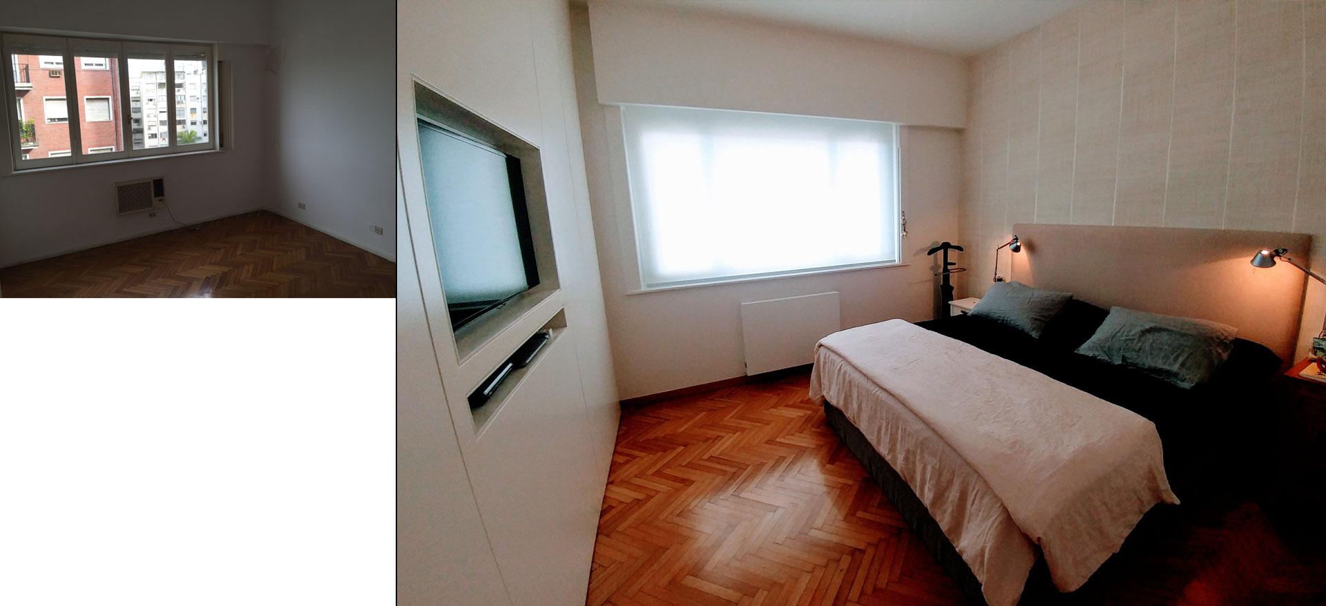 Como era el dormitorio original y como quedó con la reforma y las ideas deco, diseño interior moderno