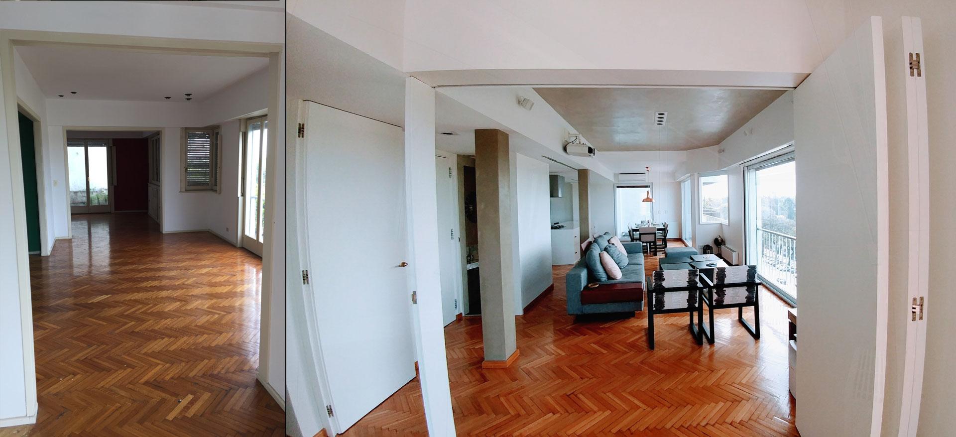 Antes y después, puesta en valor del espacio con un diseño moderno y contemporáneo