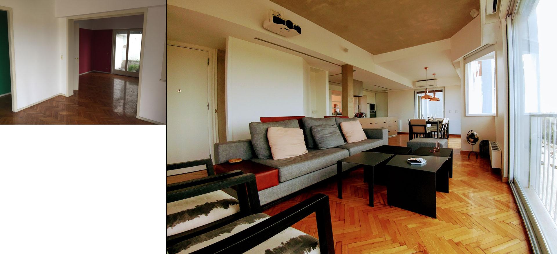 Antes y después, tras la reforma de arquitectura e interiorismo, living comedor amplios y conectados de diseño moderno