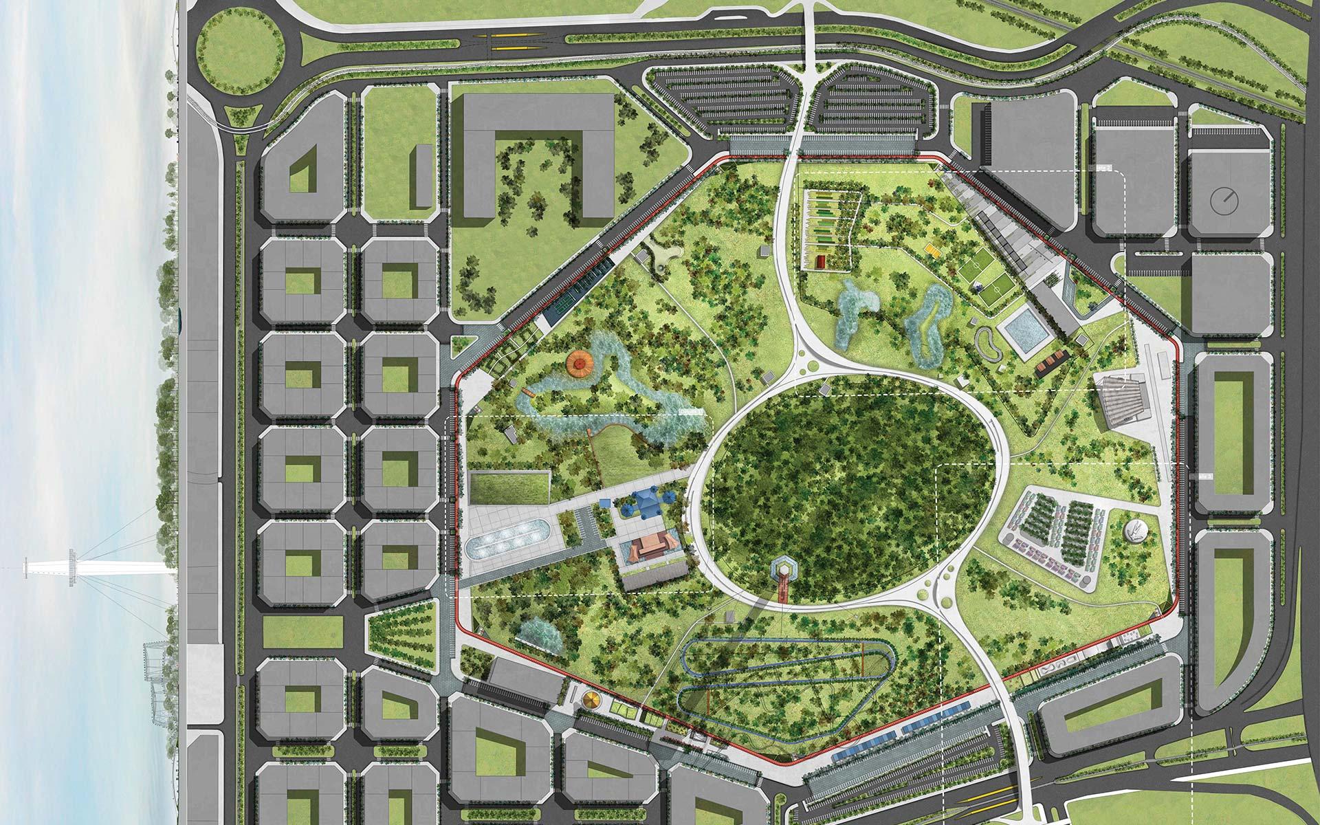Arquitectura y Paisajismo Premio Dibujo en corte y planta del Concurso para el Parque de la Ciudad