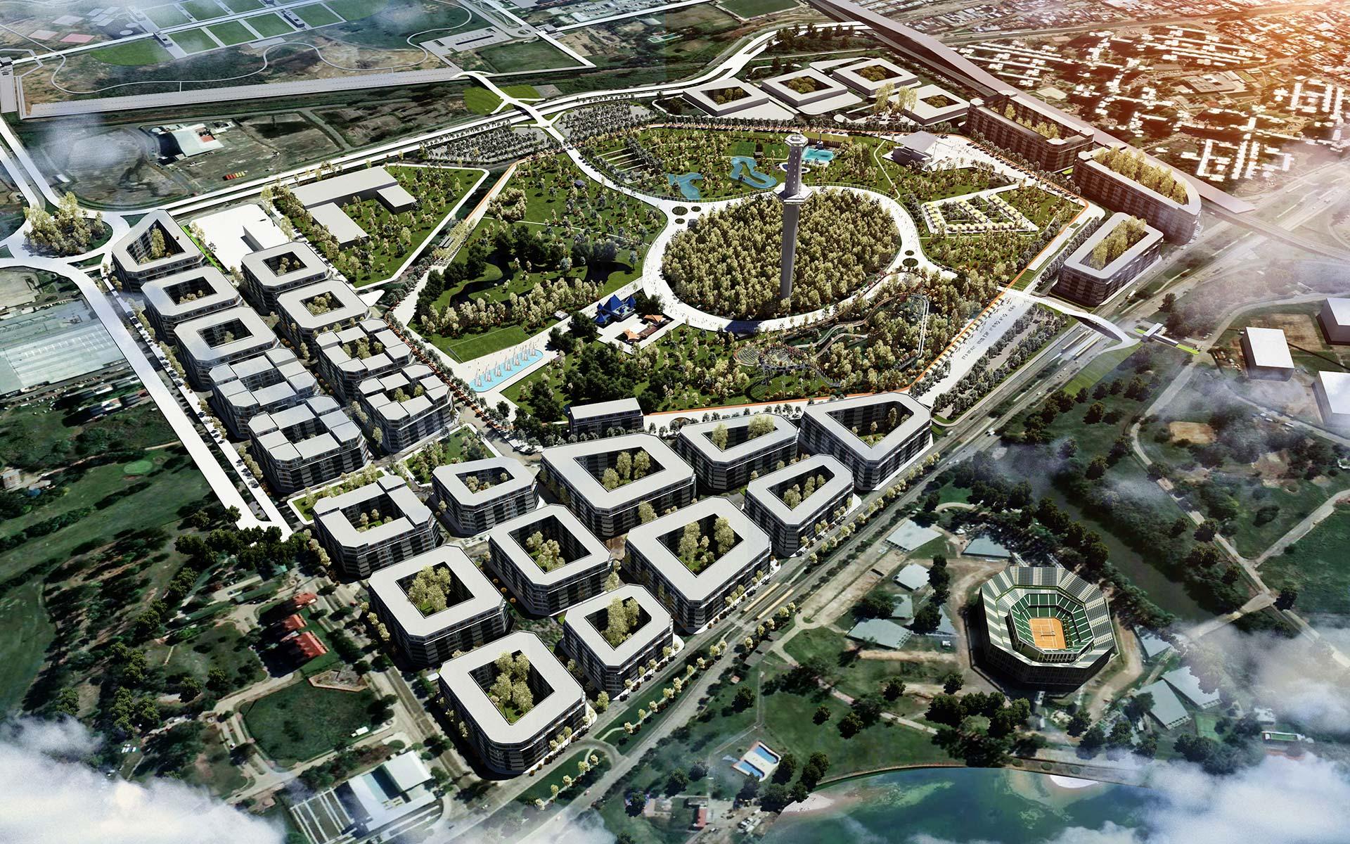 Arquitectura y Paisaje Premio Parque de la Ciudad Imagen aerea del parque de la ciudad como conector con los parques indoamericano y roca