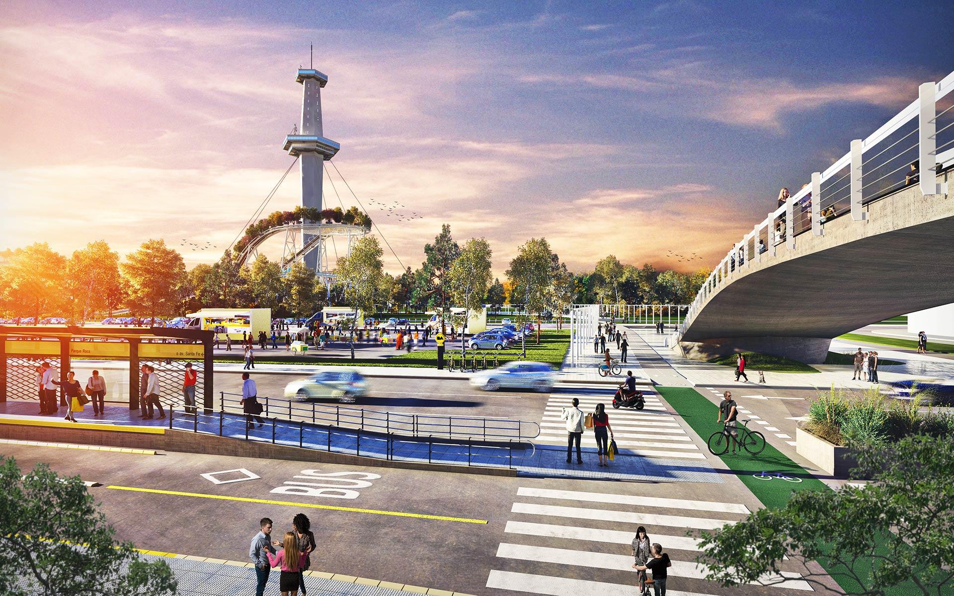 Arquitectura y Paisaje Premio Parque de la Ciudad Conexion peatonal y en bicisenda entre el parque Roca y el Parque de la Ciudad torre espacial de fondo