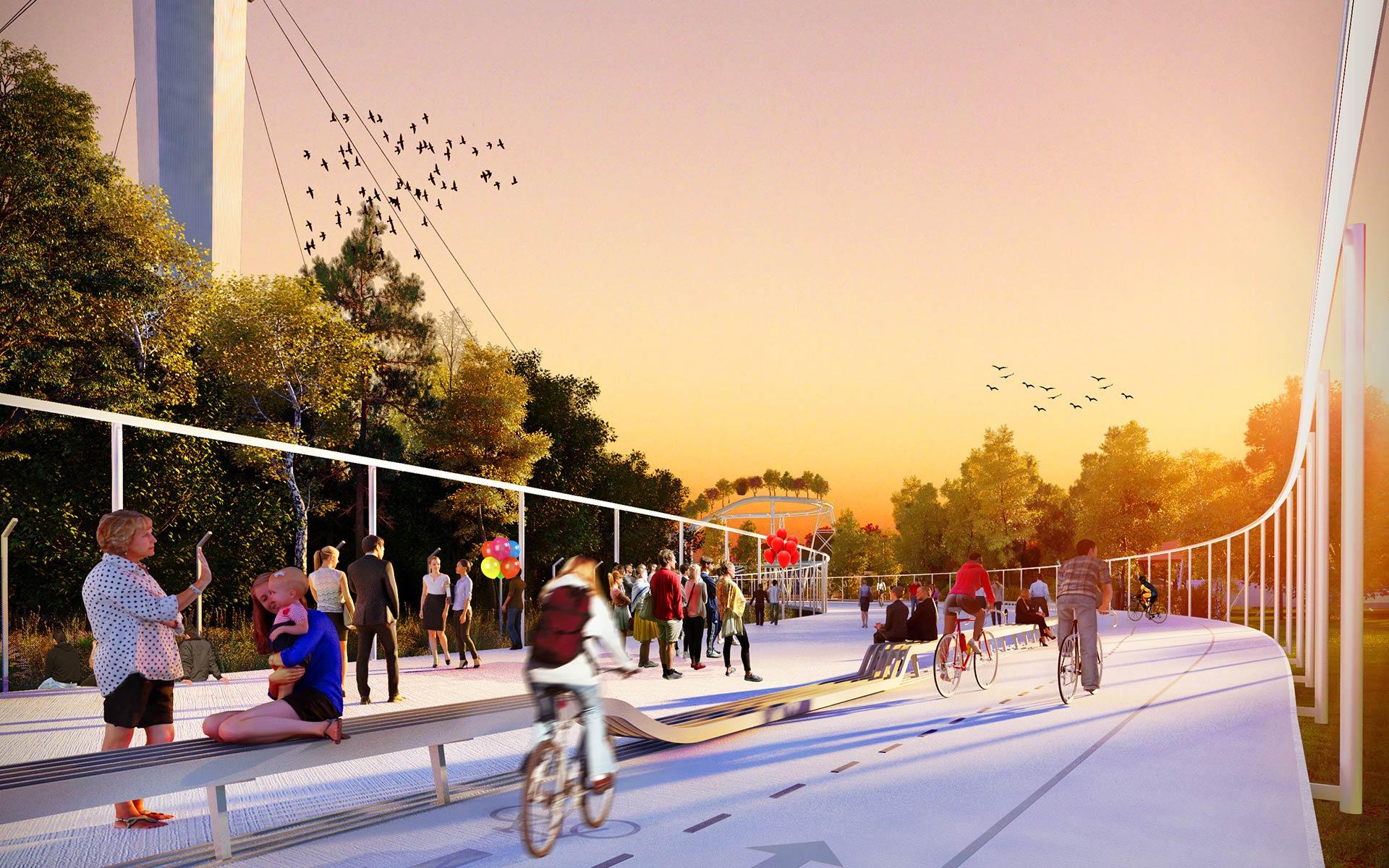 Arquitectura y Paisaje, Premio Parque de la Ciudad El halo, conector de los tres parques, plantea un paseo, ciclovias y sector aeróbico