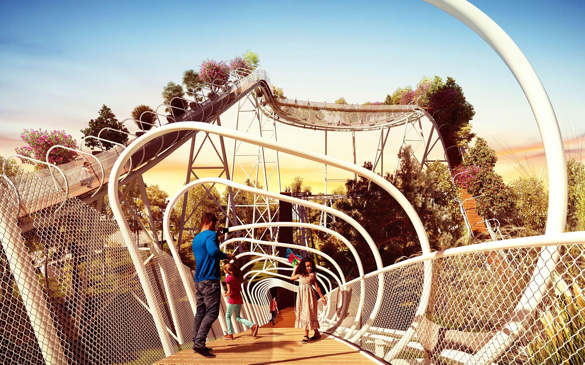 Arquitectura y Paisaje Premio Parque de la Ciudad La antigua montaña rusa vertigorama transformada en un paseo por el canopy del bosque