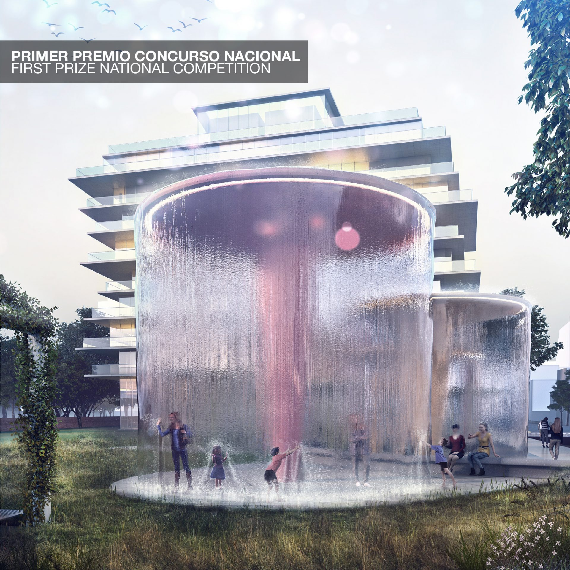 First Prize National Competition Masterplan area Collegiales Inverted fountain, landscape architecture and urbanism