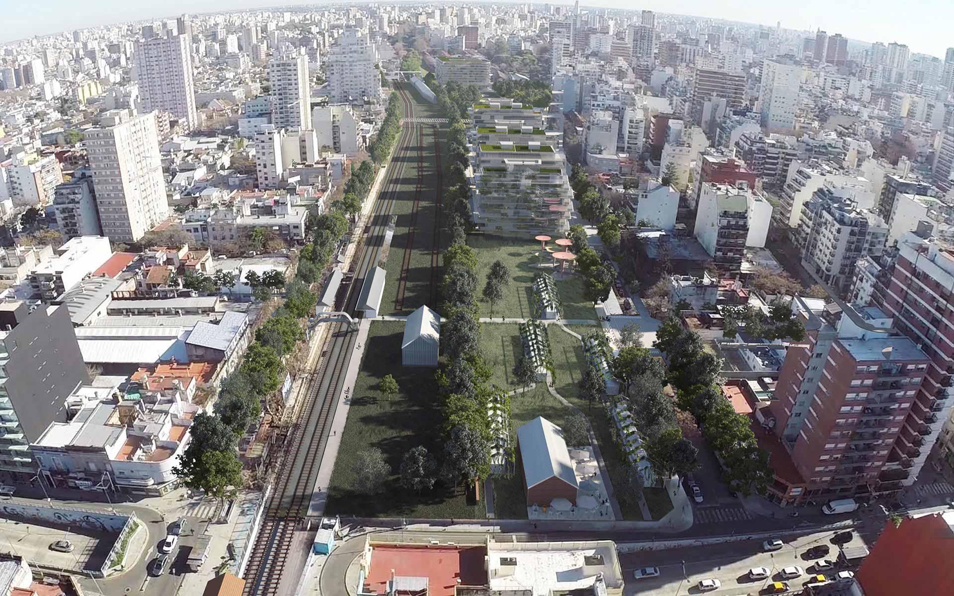 Proyecto Ganador Arquitectura y Paisaje, aérea del Masterplan y la inserción urbana y el bajo impacto de los nuevos edificios y los parques completando el tejido de Colegiales.